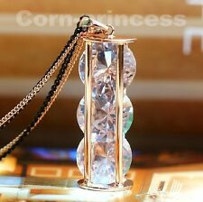 18K GP Gold Plated Crystal Element Sand Clock Timer Long Necklace USPS