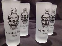 CRYSTAL HEAD VODKA FROSTED SHOT GLASS SET OF (4)PROMO-DAN AYKROYD-SUPER RARE