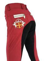 Ladies Burgundy Jodhpurs Maroon Breeches Full Seat Suede Lycra Sock Sizes 6-16