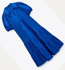 ZARA NEW WOMAN MIDI OVERSIZE POPLIN DRESS RUFFLED HEM  COBALT XS-XXL 0387/158