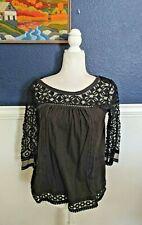 Meadow Rue Anthropologie Blouse Black Lace Crochet Shirt Top Sz Medium M