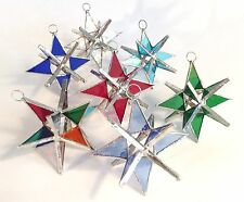 7 Stained Glass moravian Stars -  1 OF EACH COLOR !!    Handmade! Gorgeous!