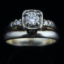 Vintage Transition Cut Diamond 14k Gold Engagement Ring Wedding Band Set Mid Cen