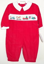 New Carriage Boutiques Red Corduroy Smocked Holiday Train Romper / Longall Sz 6M
