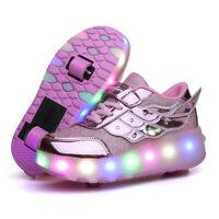 Ehauuo Unisex Wheel Shoes Kids LED Light up USB Charge Roller Skate Flashing Sneakers for Girls Boys Gift