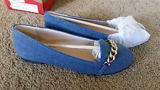 London Rebel Women's Denim with gold chain detail Flats sz4 BNWT free post E35