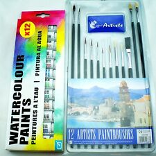 Artists Brushes and Water Colours Paints Set Picture Equipment Kit Art Range