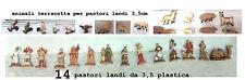 14 Bergers Landi 3,5 cm Plastique et 13 Animaux Terre Cuite Crèche Crib Berger