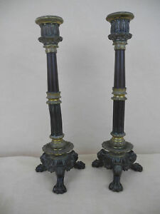 Antique Bronze Empire Pair Candle Holder Two Tone