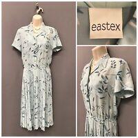Eastex Pale Blue Floral Retro Dress UK 10 EUR 36 US 6