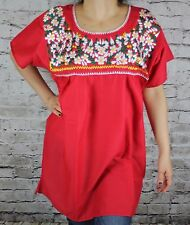 RED PEASANT PUEBLA SILK EMBROIDERED MEXICAN BLOUSE TOP MEDIUM