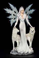 Große Elfen Figur - Maylea mit zwei weißen Wölfen - Fee Statue Winter Kristalle