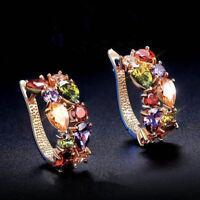 1 Paar Klappcreolen Ohrstecker Bunt Kristall vergoldet Creolen Hoop Ohrringe
