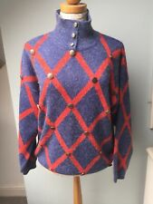 Jane Bis Vintage Genuine Jumper Chunky Blue Red Buttons Unusual Oversized 12 14