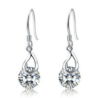 925 Sterling Silver Round Swarovski Elements Hook Pieced Dangle Earrings Silver