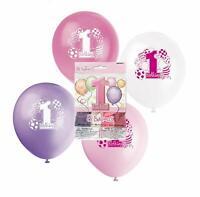 "8 x Girls 1st Birthday Latex Balloons 12"" Pink Purple Party Decoration Supplies"