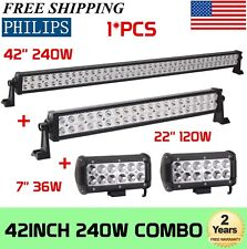 "PHILIPS 42Inch LED Light Bar Combo+ 22in +7"" CREE PODS OFFROAD SUV 4WD FORD JEEP"