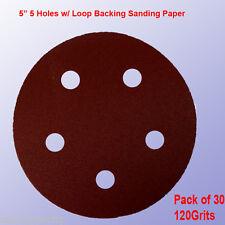 """30x 5"""" 5 Hole 120 Grits Sandpaper Disc Sanding Sander Hook Loop for Porter Cable"""