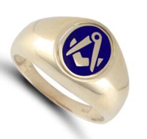 9ct Yellow Gold Enamelled Swivel Centre Masonic Ring - UK Jewellers