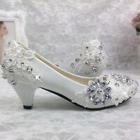 Women Girls Wedding Shoes Bud silk flowers diamond  Bridal Flats Low High Heels