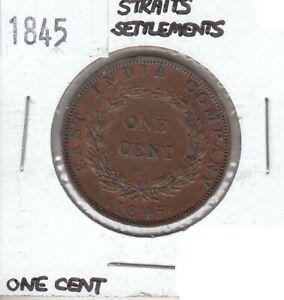 Straits Settlements 1 Cent 1845 XF Extra Fine