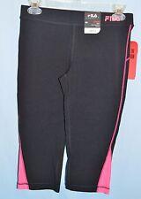 FILA~X-SMALL~ACF1072~Black & Pink Blast Pop Hem Cotton Capri Pants