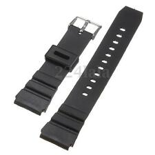 18mm Military Men Black Silicone Rubber Replacement Sport Wrist Watch Band Strap