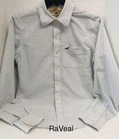 Hollister Mens Long Sleeve Button Down Shirt White & Blue