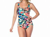 Maxine Of Hollywood Womens Swimwear Blue Multi Size 14 Floral Swimsuit $88 499