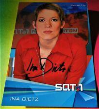 Ina Dietz - SAT1 Fernsehen-Berlin - Karte mit Original-Autogramm - Super !