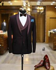 Men Burgundy Suit Designer Wedding Grooms Tuxedo Dinner Suit (Jacket+Vest+Pants)