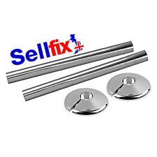 2 x CHROME PIPESNAPS - 250MM RADIATOR PIPE COVERS WITH 2 x COLLARS