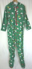 NWT Hello Kitty Women's Green Hooded One Piece Footed Pajama Size Medium M