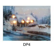 Noël 40cm x 30cm led light up photo sur toile-house & deer DP4