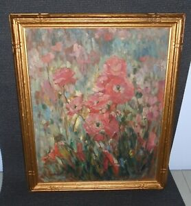 Mary Herrick Ross (1856-1935) Oil Panel Painting Floral Listed Artist California