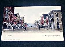 Early Main Street, Washington St, Green Bay Wisconsin Vintage Postcard