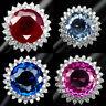 Ruby Aqua Topaz Sapphire Ametrine Round 24.9-33.4CT. 925 Silver Ring Size 5-6.25