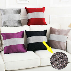2pcs Throw Sofa Pillow Case Cover Cushion Velvet Sparkle Crushed Striped Luxury
