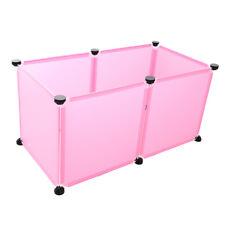 Pet Cage Hamster Dog Small Animal Playpen Plastic Run Fence 6 Panel/Set Pink