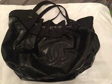 Chanel Black Patent Cabas Handbag Shoulderbag very rare PREOWNED