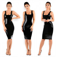 New Black Latex Rubber Girl Dress Skirt Slim Club Wear Vestidos Unique Party k32