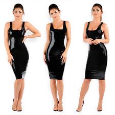 Slim Black Latex Rubber Girl Skirt Club Wear Vestidos Unique Party Dress New L17
