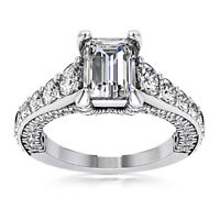 Certified 1.00 Carat Emerald Cut I/VVS1 100% Natural Diamond Ring White Gold