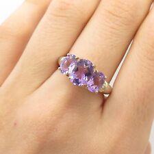 925 Sterling Silver Real Diamond Amethyst Gemstone Ring Size 7 1/4