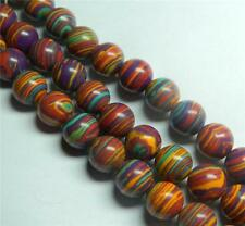 "New 8mm Purple Multicolor Turkey Turquoise Gemstone Round Loose Bead 15"" ##AY142"