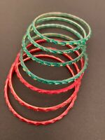 Set of 7 Red Green Painted Glass Bangle Bracelets Women's Jewelry Embellished Gl