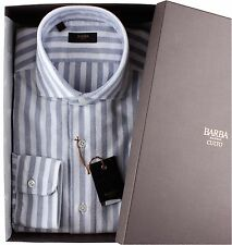 NWT BARBA NAPOLI DRESS SHIRT Culto blue flannel white luxury handmade 39 15 1/2