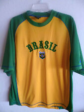 BRASIL Futebol Athletic Shirt  Gold & Green  Blue Trim  S Star   L