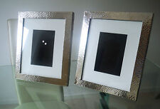 PAIR SUPER LARGE PLANISHED WHITE METAL (SP) EASEL PHOTO FRAMES-VGC    *