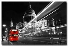 Red London Bus City Black White Cityscape Art Silk Poster 24x36inch